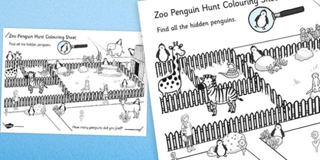 Zoo Penguin Hunt Large Colouring Sheet - zoo, penguin, hunt