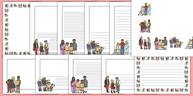 My Family Page Borders - Page border, border, writing template, writing aid, family, mum, dad, brother sister, grandpa, grandma, uncle, aunt, writing frame, KS1, ourselves, all about me, my body, senses, emotions, family, body, growth, granpa