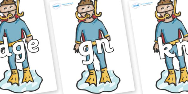 Silent Letters on Divers - Silent Letters, silent letter, letter blend, consonant, consonants, digraph, trigraph, A-Z letters, literacy, alphabet, letters, alternative sounds