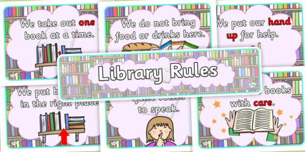 Library Rules Display Poster Pack - library, library rules, library posters, display posters, poster, display pack, poster pack, library rules display poster