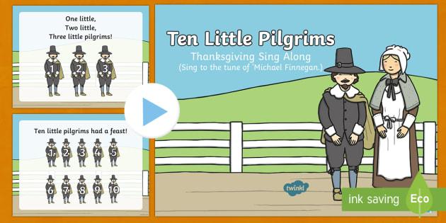 Ten Little Pilgrims Sing Along Song PowerPoint