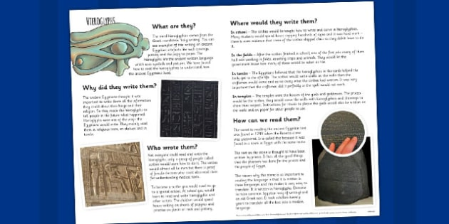 The Ancient Egyptians Hieroglyphs Information Print Out - egypt