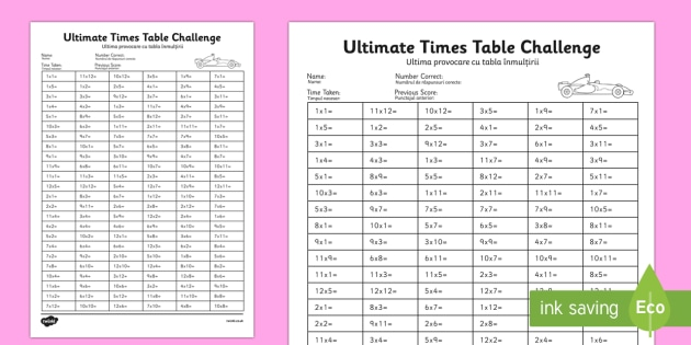 KS2 Ultimate Times Tables Challenge English/Romanian