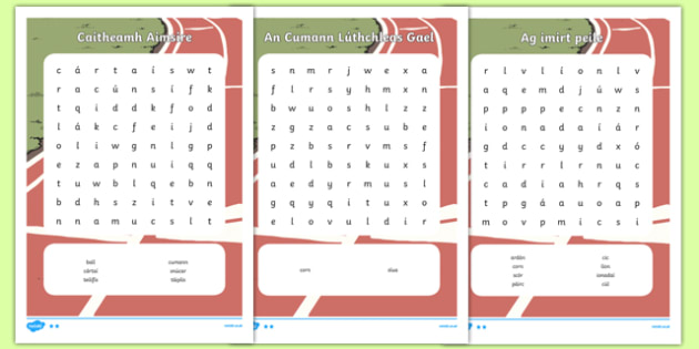 Irish Caitheamh Aimsire Pack Word Search - irish, gaeilge, caitheamh aimsire, pack, word search
