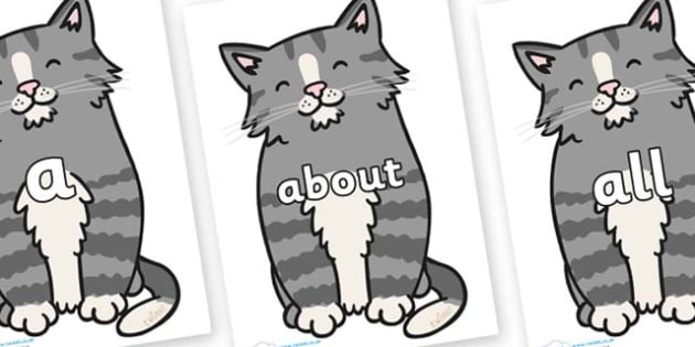 100 High Frequency Words on Kittens - High frequency words, hfw, DfES Letters and Sounds, Letters and Sounds, display words