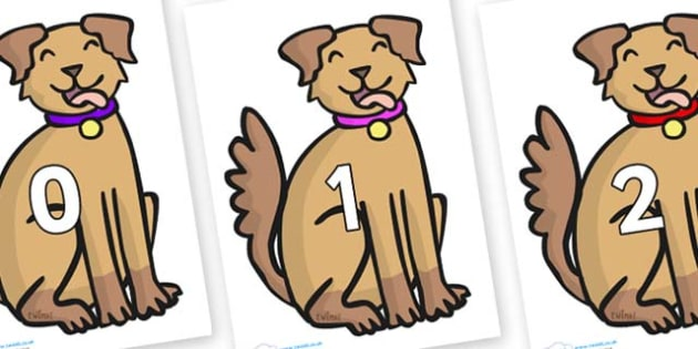 Numbers 0-50 on Dog - 0-50, foundation stage numeracy, Number recognition, Number flashcards, counting, number frieze, Display numbers, number posters