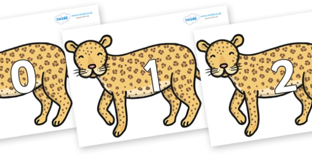 Numbers 0-50 on Leopards - 0-50, foundation stage numeracy, Number recognition, Number flashcards, counting, number frieze, Display numbers, number posters