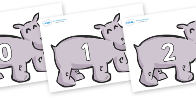Numbers 0-50 on Hippos - 0-50, foundation stage numeracy, Number recognition, Number flashcards, counting, number frieze, Display numbers, number posters