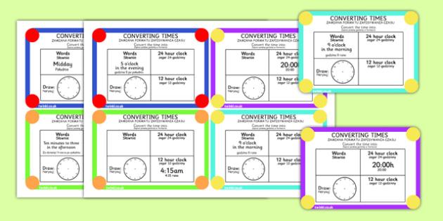Converting Time Challenge Cards Polish Translation - polish, time, clocks, hours, numeracy