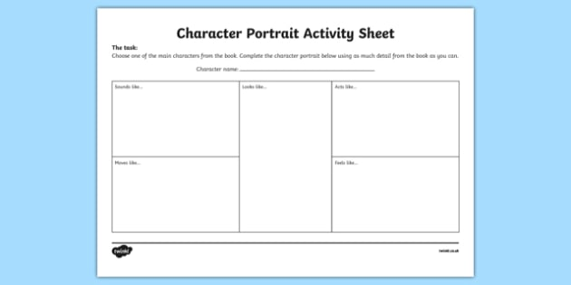 Character Portrait Activity Sheet-Irish, worksheet