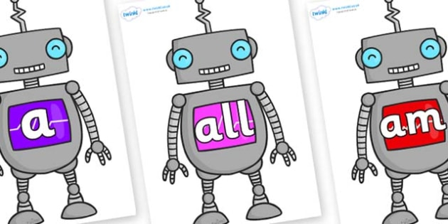 Foundation Stage 2 Keywords on Robots - FS2, CLL, keywords, Communication language and literacy,  Display, Key words, high frequency words, foundation stage literacy, DfES Letters and Sounds, Letters and Sounds, spelling