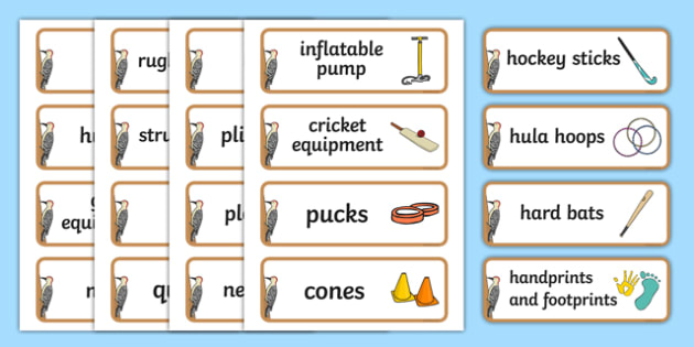 Woodpecker Themed Editable PE Resource Labels - Themed PE label, PE equipment, PE, physical education, PE cupboard, PE, physical development, quoits, cones, bats, balls, Resource Label, Editable Labels, KS1 Labels, Foundation Labels, Foundation Stage