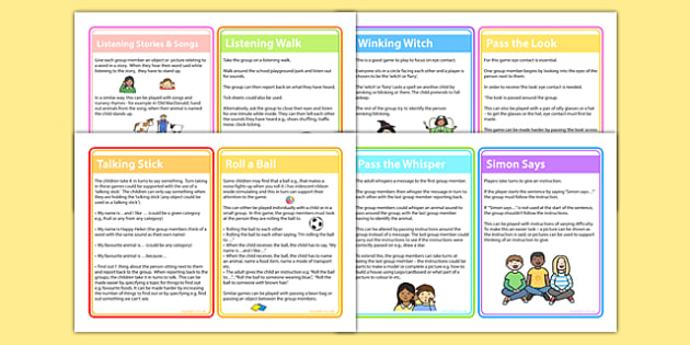 Game Ideas to Support Attention and Listening - listening games, psed early years