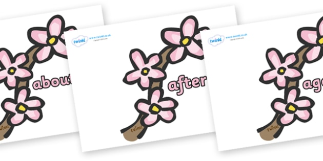 KS1 Keywords on Spring Blossom - KS1, CLL, Communication language and literacy, Display, Key words, high frequency words, foundation stage literacy, DfES Letters and Sounds, Letters and Sounds, spelling