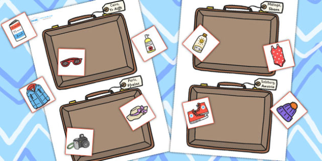 Holiday Clothes Sorting Activity Welsh Translation - roleplay