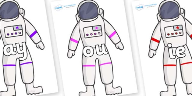Phase 5 Phonemes on Astronaut - Phonemes, phoneme, Phase 5, Phase five, Foundation, Literacy, Letters and Sounds, DfES, display