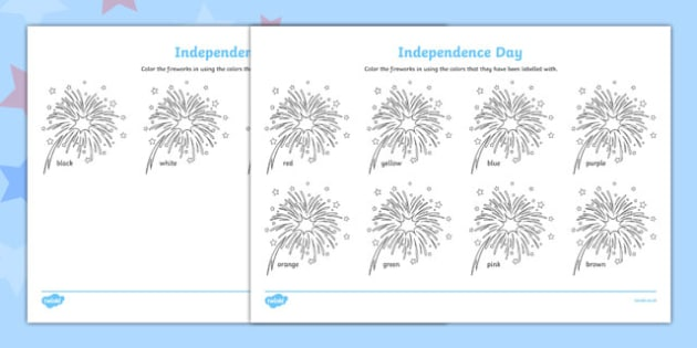 4th of July Color Words - usa, america, 4th of july, independence day, color words