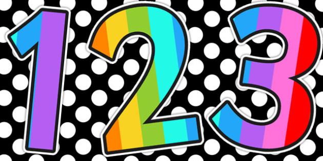 Mulitcoloured Stripe Themed A4 Display Numbers - display numbers