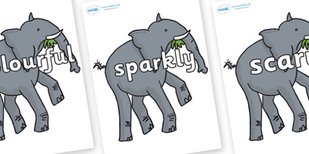 Wow Words on Trunky The Elephant - Wow words, adjectives, VCOP, describing, Wow, display, poster, wow display, tasty, scary, ugly, beautiful, colourful sharp, bouncy
