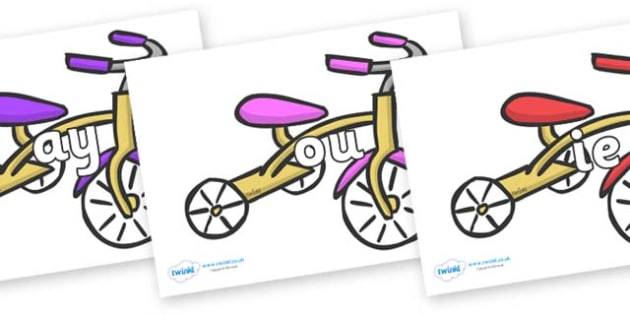 Phase 5 Phonemes on Trikes - Phonemes, phoneme, Phase 5, Phase five, Foundation, Literacy, Letters and Sounds, DfES, display