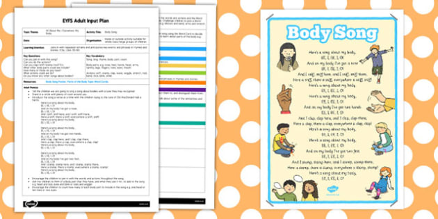 Body Song EYFS Adult Input Plan and Resource Pack - EYFS, planning, all about me, ourselves, my body