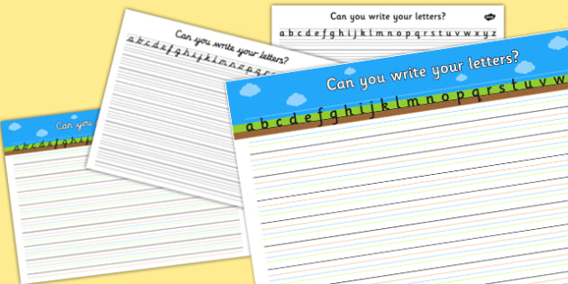 Can you Write Your Letters Worksheet (Plain) - Line guide, Handwriting, Writing aid, Learning to write, sky ground grass, line guides