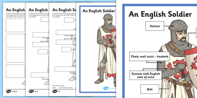 An English Soldier Poster and Differentiated Worksheets - CfE