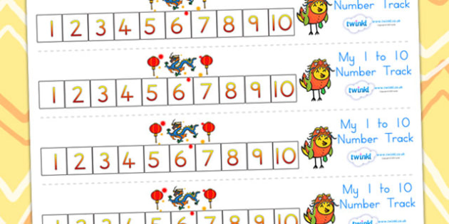 Chinese New Year Number Track 1-10 - chinese new year, numeracy