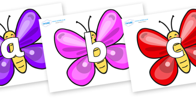 Phoneme Set on Butterflies - Phoneme set, phonemes, phoneme, Letters and Sounds, DfES, display, Phase 1, Phase 2, Phase 3, Phase 5, Foundation, Literacy