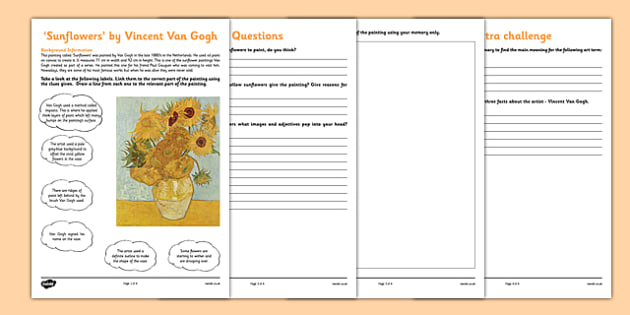 Sunflowers by Van Gogh Art Appreciation Activity Sheet - art, appreciation, activity sheet, Sunflowers, Van Gogh, worksheet