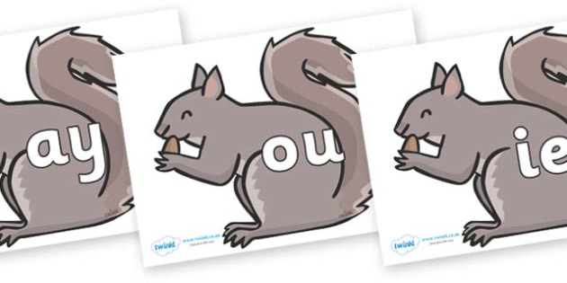 Phase 5 Phonemes on Grey Squirrels - Phonemes, phoneme, Phase 5, Phase five, Foundation, Literacy, Letters and Sounds, DfES, display