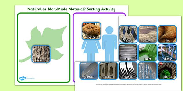 Natural or Man Made Materials Sorting Activity - natural or man made, materials, sorting activity, ordering, themed sorting activity, groups activity