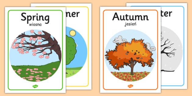 Four Seasons Posters A4 Polish Translation - polish, four seasons, posters, display, seasons