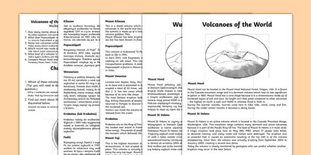 World Volcanoes Comprehension Activity Sheets English/Polish - World Volcanoes Reading Comprehension Activity - volcano, worksheet, comprehesion, vocanoes, compreh