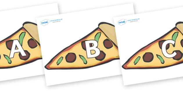 A-Z Alphabet on Pizza Slices - A-Z, A4, display, Alphabet frieze, Display letters, Letter posters, A-Z letters, Alphabet flashcards