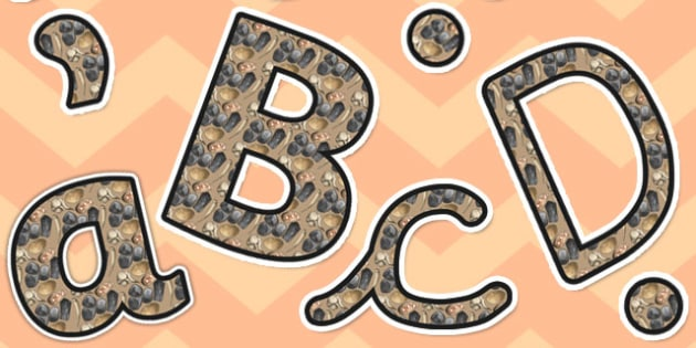 Stone Age Themed Size Editable Display Lettering - display letter