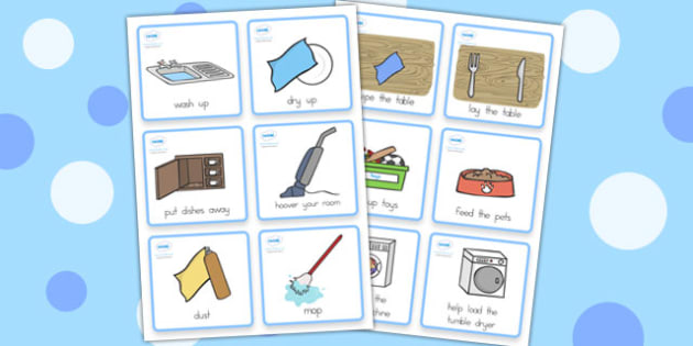 Special Needs Communication Cards Household Chores Boy - chores
