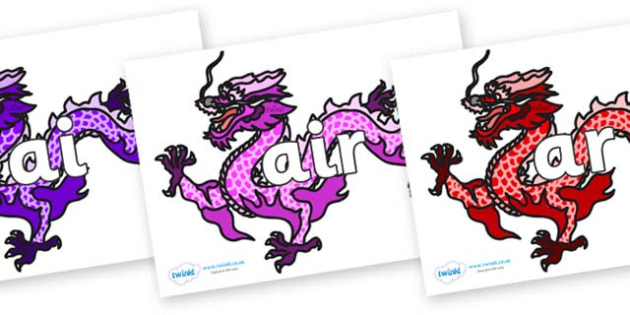 Phase 3 Phonemes on Chinese Dragons (Multicolour) - Phonemes, phoneme, Phase 3, Phase three, Foundation, Literacy, Letters and Sounds, DfES, display