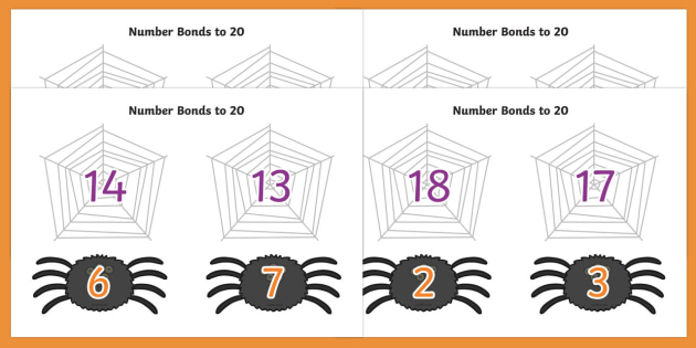 Number Bonds to 20 on Spiders and Webs - number bonds, number bonds to 20, 0-20, 0-20 number bonds, bonds, numbers, numeracy, maths, adding, plus, addition