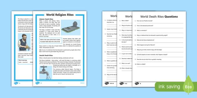 KS2 World Religion Death Rites Differentiated Reading Comprehension Activity