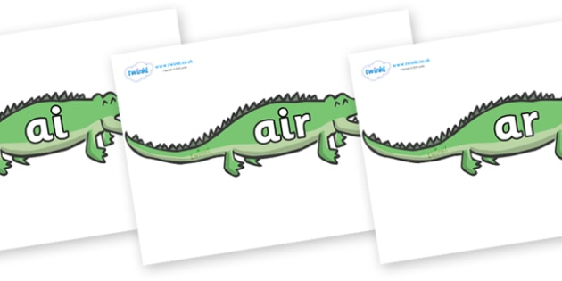 Phase 3 Phonemes on Crocodiles - Phonemes, phoneme, Phase 3, Phase three, Foundation, Literacy, Letters and Sounds, DfES, display