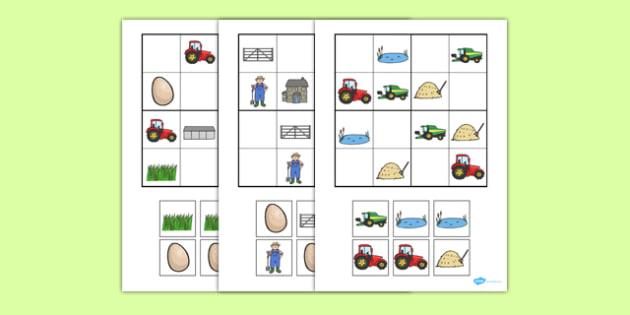 Los objetos de la granja Sudoko-Spanish