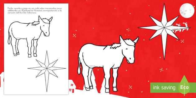 Marionetas de palo: Burrito Sabanero - Villancico, Navidad, canción,  marionetas de palo, burro, estrella, festival
