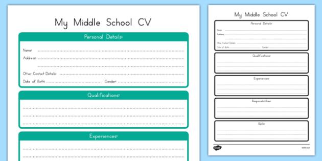 My Middle School CV Writing Activity Sheet, worksheet