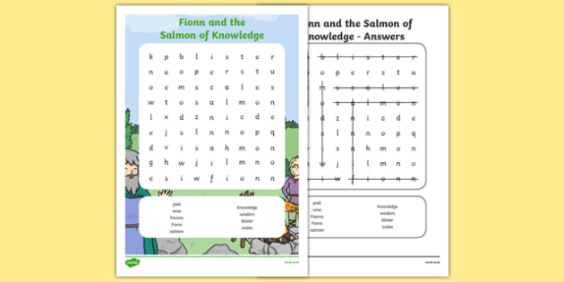 Fionn and the Salmon of Knowledge Word Search -  roi, republic, of ireland, myths, legends,