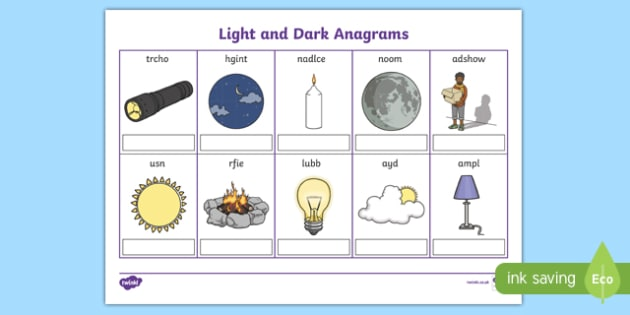 Light and Dark Anagrams Activity Sheet, worksheet