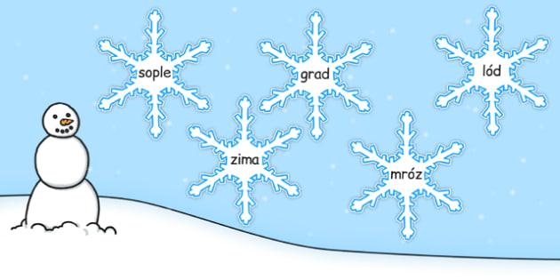 Zimowe słowa na płatkach śniegu po polsku - pory roku