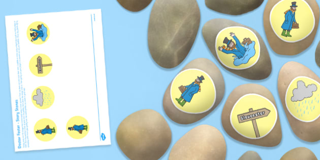 Doctor Foster Story Stones Image Cut Outs - Story stones, stone art, painted rocks, Nursery Rhymes, song