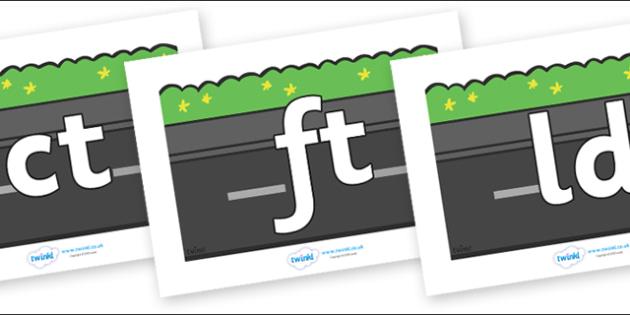 Final Letter Blends on Roads (Plain) - Final Letters, final letter, letter blend, letter blends, consonant, consonants, digraph, trigraph, literacy, alphabet, letters, foundation stage literacy