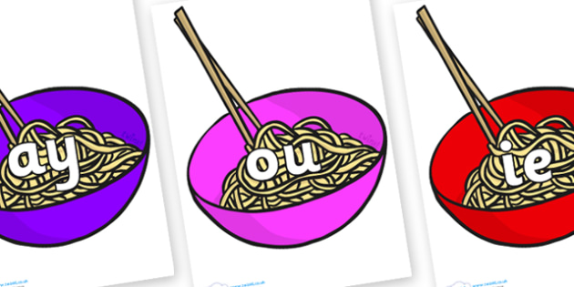 Phase 5 Phonemes on Chinese Noodles - Phonemes, phoneme, Phase 5, Phase five, Foundation, Literacy, Letters and Sounds, DfES, display